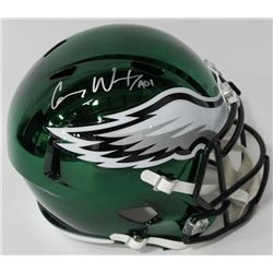 "Carson Wentz Signed Eagles Chrome Full-Size Speed Helmet Inscribed ""A01"" (Fanatics Hologram)"