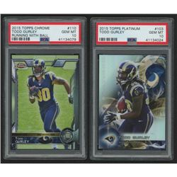 Lot of (2) Todd Gurley Graded Football Cards with 2015 Topps Platinum #103 RC (PSA 10)  2015 Panini