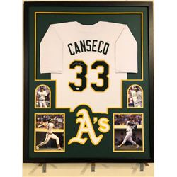 Jose Canseco Signed Athletics 34x42 Custom Framed Jersey (JSA COA)