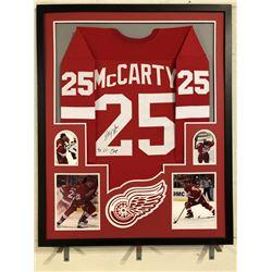 Darren McCarty Signed Red Wings 34x42 Custom Framed Jersey Inscribed  4x S.C. Champ  (JSA COA)