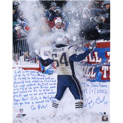 """Tedy Bruschi Signed LE """"Snow Game"""" Patriots 16x20 Photo with Extensive Inscription (Steiner COA)"""