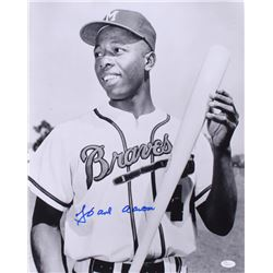 Hank Aaron Signed Braves 16x20 Photo (JSA COA)