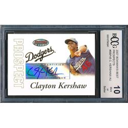 2007 Bowman's Best Prospects #BBP45 Clayton Kershaw AU (BCCG 10)