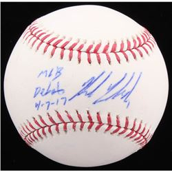 "Kyle Freeland Signed OML Baseball Inscribed ""MLB Debut 4-7-17"" (Beckett COA)"