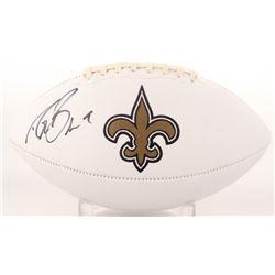 Drew Brees Signed Saints Logo Football (JSA COA)