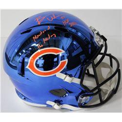 """Brian Urlacher Signed Bears Full-Size Blue Chrome Speed Helmet Inscribed """"HOF 2018""""  """"Monsters of th"""