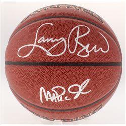 Magic Johnson  Larry Bird Signed NBA Basketball (Schwartz COA  Bird Hologram)