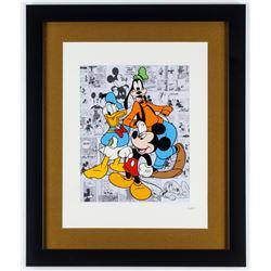Walt Disney's  Donald Duck, Goofy  Mickey Mouse  16x19 Hand-Painted Custom Framed Animation Serigrap