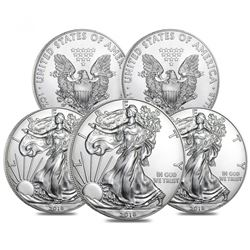 Lot of (5) 2018 $1 American Eagle Silver Dollar $1 Coins (Brilliant Uncirculated)