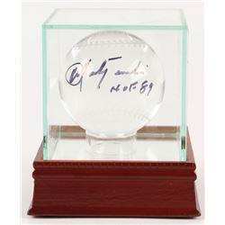"Carl Yastrzemski Signed Lead Crystal Baseball Inscribed ""HOF 89"" with High Quality Display Case (PSA"