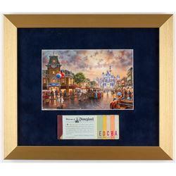 Thomas Kinkade Disneyland 12.5x14.5 Custom Framed Print Display with Vintage Ticket Booklet