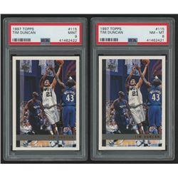 Lot of (2) 1997-98 Topps #115 Tim Duncan RC (PSA 8  9)