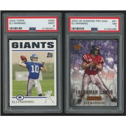 Lot of (2) PSA Graded Football Cards with 2004 UD Diamond All-Star #91 Eli Manning RC (PSA 7), 2004