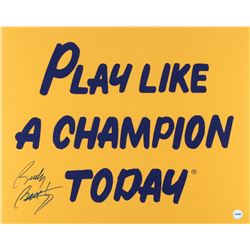 """Rudy Ruettiger Signed Notre Dame Fighting Irish """"Play Like a Champion Today"""" 16x20 Photo (Fiterman H"""