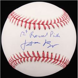 "Jake Burger Signed OML Baseball Inscribed ""1st Round Pick"" (Beckett COA)"