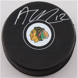 Alex DeBrincat Signed Blackhawks Logo Hockey Puck (Beckett COA)