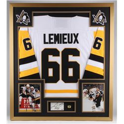 Mario Lemieux Signed Penguins 32x36 Custom Framed Cut Display (PSA COA)