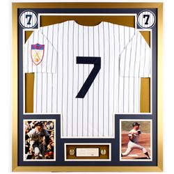 "Mickey Mantle Signed Yankees 32x36 Custom Framed Cut Display Inscribed ""Best Wishes"" (PSA LOA)"