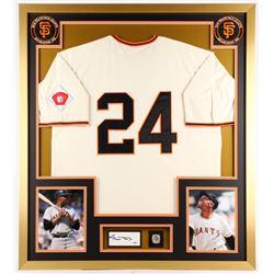 Willie Mays Signed Giants 32x36 Custom Framed Cut Display (PSA COA)