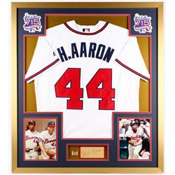 Hank Aaron Signed Braves 32x36 Custom Framed Cut Display (PSA COA)