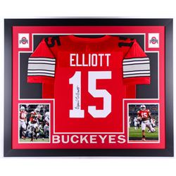 Ezekiel Elliott Signed Ohio State Buckeyes 35x43 Custom Framed Jersey (JSA COA)