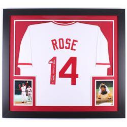Pete Rose Signed Reds 31x35 Custom Framed Jersey (JSA COA)