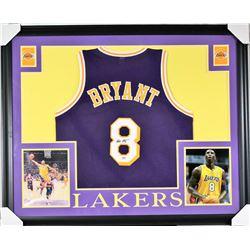 Kobe Bryant Signed Lakers 35x43 Custom Framed Jersey (PSA COA)
