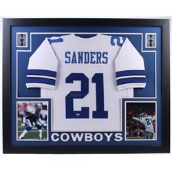 Deion Sanders Signed Cowboys 35x43 Custom Framed Jersey (Beckett COA)
