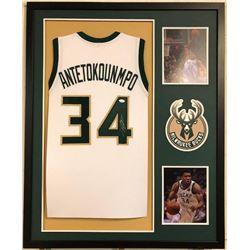 Giannis Antetokounmpo Signed Bucks 34x42 Custom Framed Jersey (JSA COA)