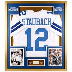 Roger Staubach Signed Cowboys 32x36 Custom Framed Cut Display (PSA)