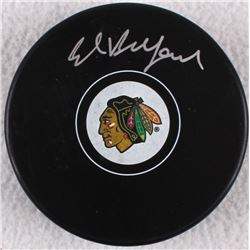 Ed Belfour Signed Blackhawks Logo Hockey Puck (Schwartz COA)