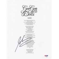 "John Rzeznik Signed ""Goo Goo Dolls"" 8x10 Lyric Sheet (PSA COA)"