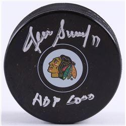 "Denis Savard Signed Blackhawks Logo Hockey Puck Inscribed ""HOF 2000"" (Schwartz COA)"