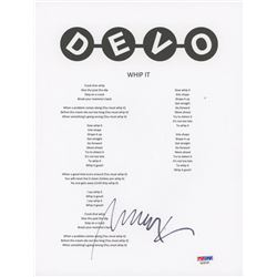 "Mark Mothersbaugh Signed ""Devo"" 8x10 Lyric Sheet (PSA COA)"