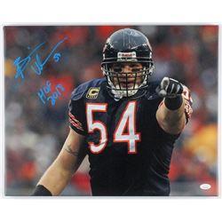"Brian Urlacher Signed Bears 16x20 Photo on Canvas Inscribed ""HOF 2018"" (JSA COA)"