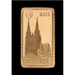 2015 Solomon Islands $10 Cologne 1 Gram 999.9 Fine Gold Proof Coin