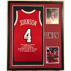 Larry Johnson Signed UNLV Runnin' Rebels 34x42 Custom Framed Career Highlight Stat Jersey (PSA COA)