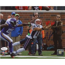 "Julian Edelman Signed Patriots ""Diving Touchdown"" 8x10 Photo (JSA COA)"