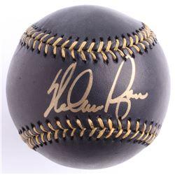 Nolan Ryan Signed Black Leather OML Baseball (Beckett COA  Ryan Hologram)