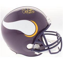"""Chris Doleman Signed Vikings Full-Size Throwback Helmet Inscribed """"HOF 12"""" (Radtke COA)"""