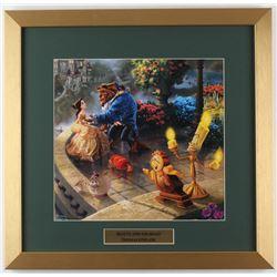 "Thomas Kinkade Walt Disney's ""Beauty and the Beast"" 17.5x18 Custom Framed Print Display"