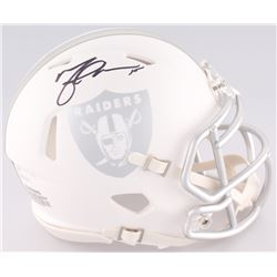 Michael Crabtree Signed Raiders White Ice Custom Matte Speed Mini-Helmet (JSA COA)