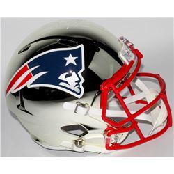 Julian Edelman Signed Patriots Chrome Speed Full-Size Helmet (JSA COA)