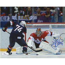 "T.J. Oshie Signed 2014 Team USA ""Game Winning Shootout Goal"" 8x10 Photo (JSA COA)"