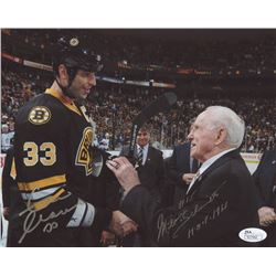 "Zdeno Chara  Milt Schmidt Signed Bruins 8x10 Photo Inscribed ""HOF 1966"" (JSA COA)"