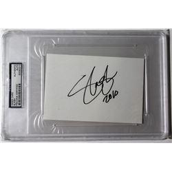 """Slash Signed Index Card Inscribed """"2010"""" (PSA Encapsulated)"""