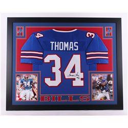 """Thurman Thomas Signed Bills 35x43 Custom Framed Jersey Inscribed """"HOF 07"""" (JSA COA)"""