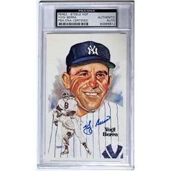 Yogi Berra Signed Perez-Steele Postcard (PSA Encapsulated)