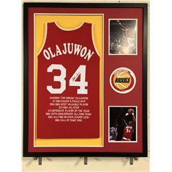 Hakeem Olajuwon Signed Rockets 34x42 Custom Framed Jersey (JSA COA)
