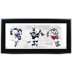 Wayne Gretzky Signed  Triple Threat  LE 19x40 Custom Framed Photo (UDA COA)